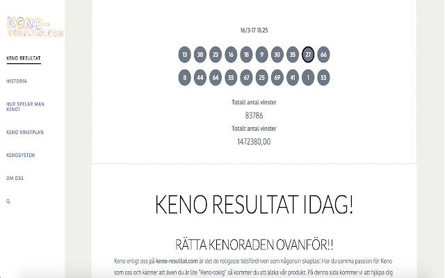 Keno resultat text 351363